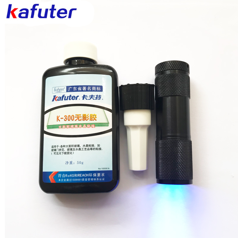 free shipping 50ml Kafuter UV Glue UV Curing Adhesive K-300 Transparent Crystal and Glass Adhesive with UV Flashlight kafuter 50ml uv glue uv curing adhesive k 300 transparent crystal and glass adhesive