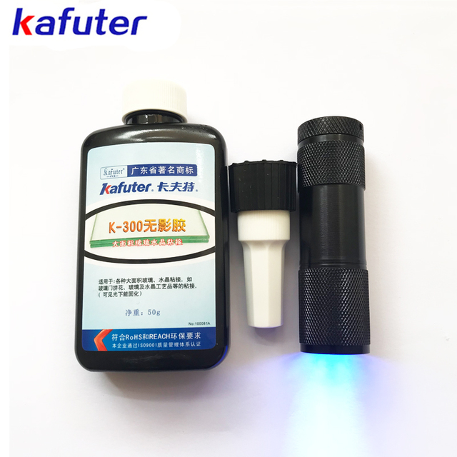 US $7 72 35% OFF free shipping 50ml Kafuter UV Glue UV Curing Adhesive K  300 Transparent Crystal and Glass Adhesive with UV Flashlight-in Silicone