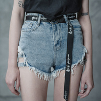 PUNK RAVE New Women Denim Jeans Summer Shorts Fashion Casual Girls High Waist Hot Pants Hole Sexy Club Wear Shorts