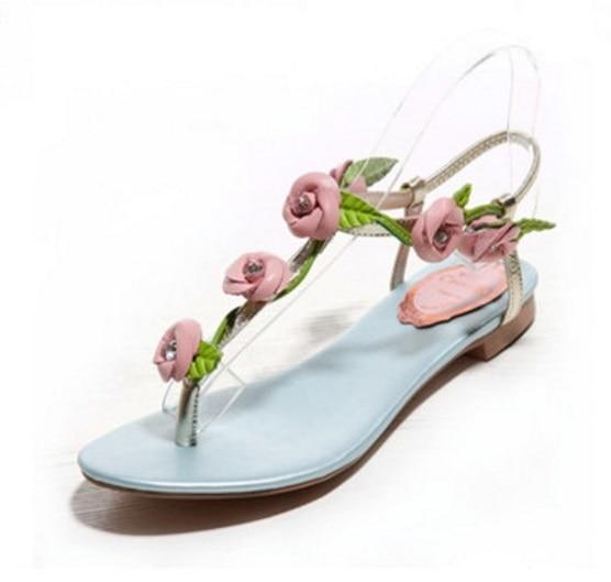 c035921360be6 2015 Women s Sandals Floral Rose Flip Flops Rhinestone Genuine Leather Blue  Rose Sweet Girls Sandals