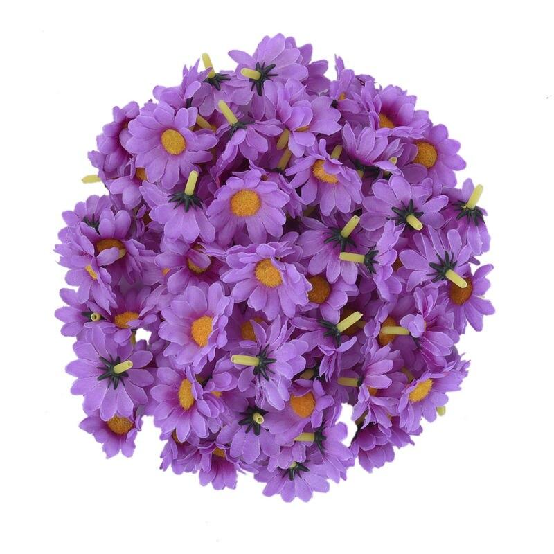 100 Unids / lote Seda Crisantemo Handmake Cabeza de Flor Artificial - Para fiestas y celebraciones - foto 5