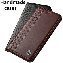 Genuine leather flip standing case for Samsung