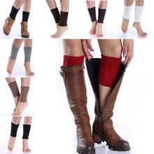 Droppsh 1pair Sexy Women Ladies Leg Warmers Autumn Winter Warm Foot Boots Socks Hemp Flowers Knit Toppers Boot Short Sock Cuffs BFJ55(China)