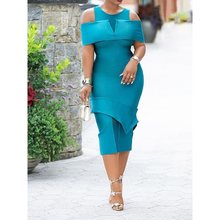 Elegant Blue Women Dress 2019 Summer Office Lady Midi Dresses Evening Sexy Off Shoulder Party Patchwork Split Pink Dinner Dress blue sexy off shoulder over layer ribbed midi dress