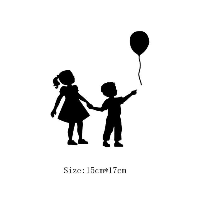 little girl boy balloon pattern switch sticker wall art