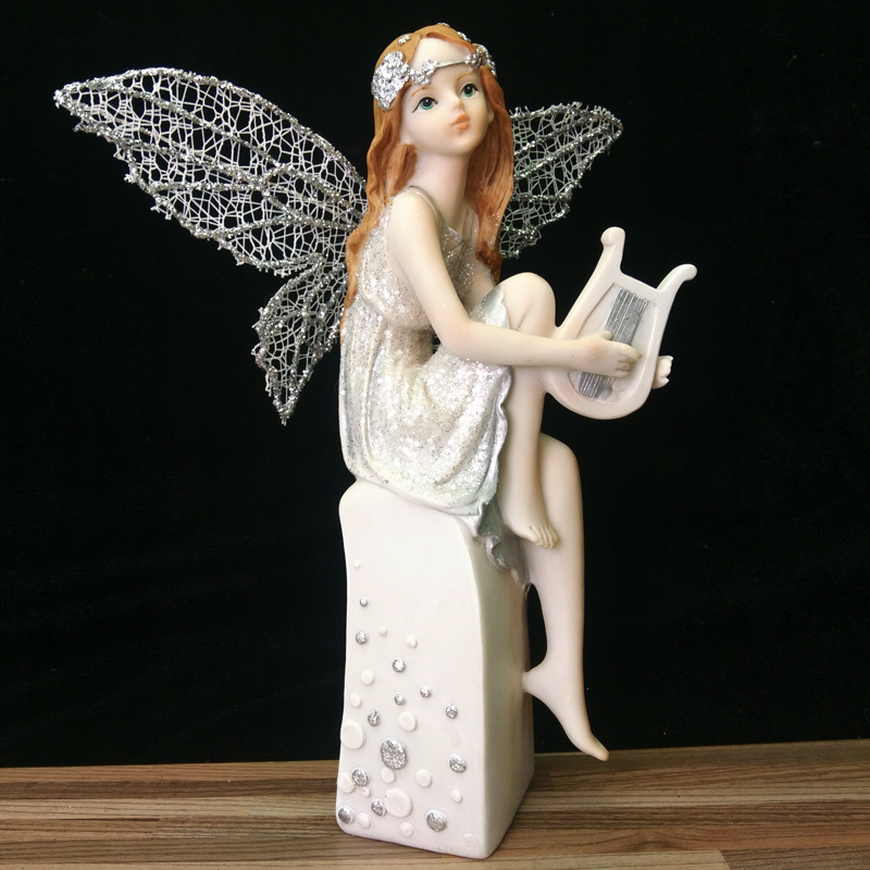 Flower Fairy Figurines Statues Resin Angel Ornaments Silver Wings Style Wedding Beautiful Girl Home Decor Birthday Gifts