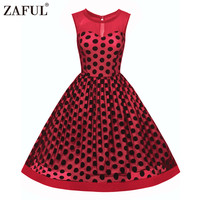 Zaful Vintage Dress Summer Sexy See Through Lace Sleeveless Elegant Style Gathering Waist Design Retro Dot