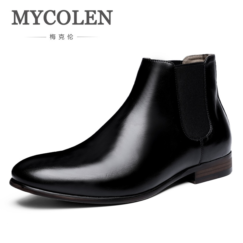 MYCOLEN Luxury Fashion Men's Chelsea Boots Winter Man Black/Brown Pointed Toe Slip-On Rubber Boots Zapatillas Hombre Casual mycolen brand boots breathable slip on chelsea boots genuine leather male wear boots fashion casual man military shose sapatos