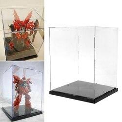 Caixa de exibição acrílica clara proteção dustproof modelo mostrar caso com luzes led