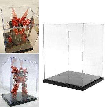 Caja de exhibición de acrílico transparente a prueba de polvo modelo de protección con luces LED