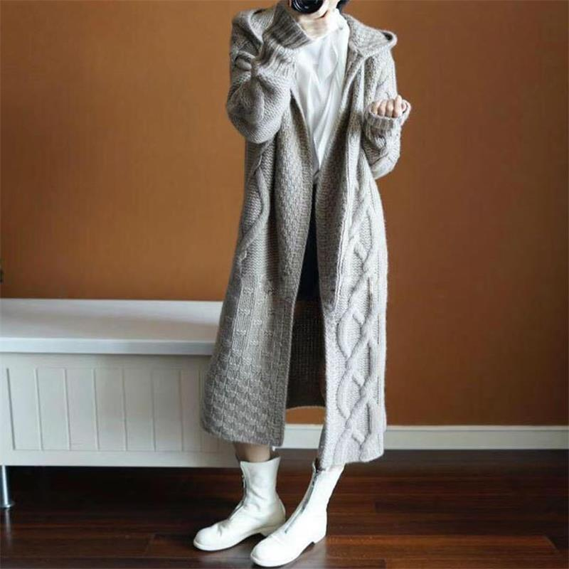 Autumn Winter Hooded Long Knit   Trench   Coat Women Fashion Wool blend Thick Windbreaker Sweater long Coat Women Korean clothes new