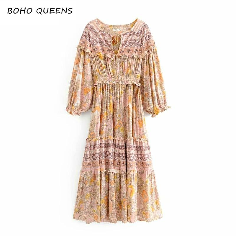 Vintage chic women floral print sashes ruffles beach Bohemian loose maxi dress Ladies v neck Summer