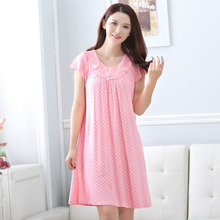 Spring and Autumn new modal lace nightgown sexy romantic elegant short-sleeved women  free home delivery