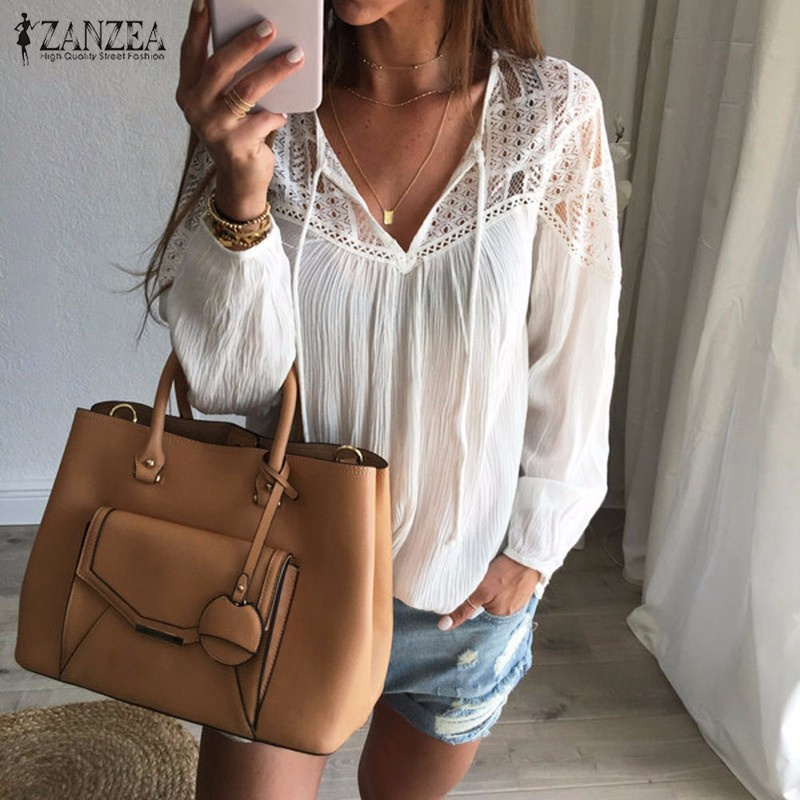 Oversized 2019 Autumn ZANZEA Women Casual Loose Lace Solid   Blouses     Shirts   Sexy V Neck Long Sleeve Splice Hollow Out Blusas Tops