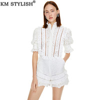 2019 Summer June New Slim French Openwork White Playsuits V neck Ruffled Trumpet Sleeve High Waist Casual Jumpsuit