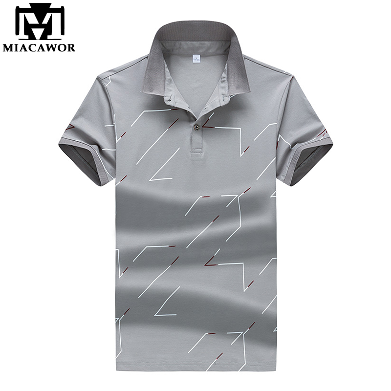 MIACAWOR New Summer Short-sleeve   Polo   Homme High Quality Cotton Fashion Print Men   Polo   Shirt Casual Business Camisa   Polo   MT648