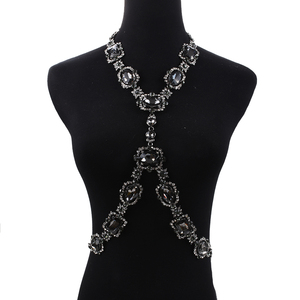 Image 4 - Bohomian Green Crystal Body Necklace Women Body Jewelry Waist Chain Necklace Femme Big Choker Maxi Statement Necklace For Women