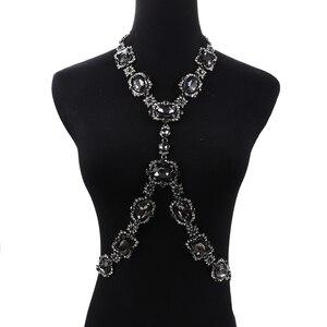 Image 4 - Bohomian verde cristal corpo colar feminino corpo jóias cintura corrente colar femme grande gargantilha maxi colar de indicação para mulher
