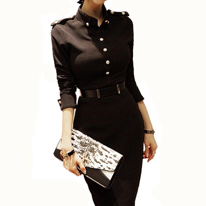 Nouvelle mode européenne femmes automne robe crayon bref élégant noir affaires travail robe décontracté dames bureau robe 1014-88
