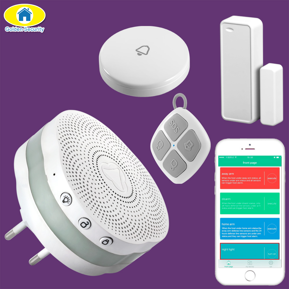 Golden Security APP Control Bluetooth Alarm System Wireless Doorbell Door Bell Night Light Home Security Door Sensor Linkage golden security remote control music wireless doorbell with buttons ring sound door bell home accessories mini wireless doorbell