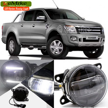 eeMrke For Ford Ranger 2012-up 2 in 1 Double Led Guiding DRL Fog Lights Lamp With Q5 Lens Daytime Running Lights