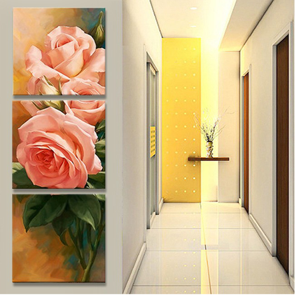 Style Wall Modular Pictures Decoration 3 Panel Beautiful Flower Art ...