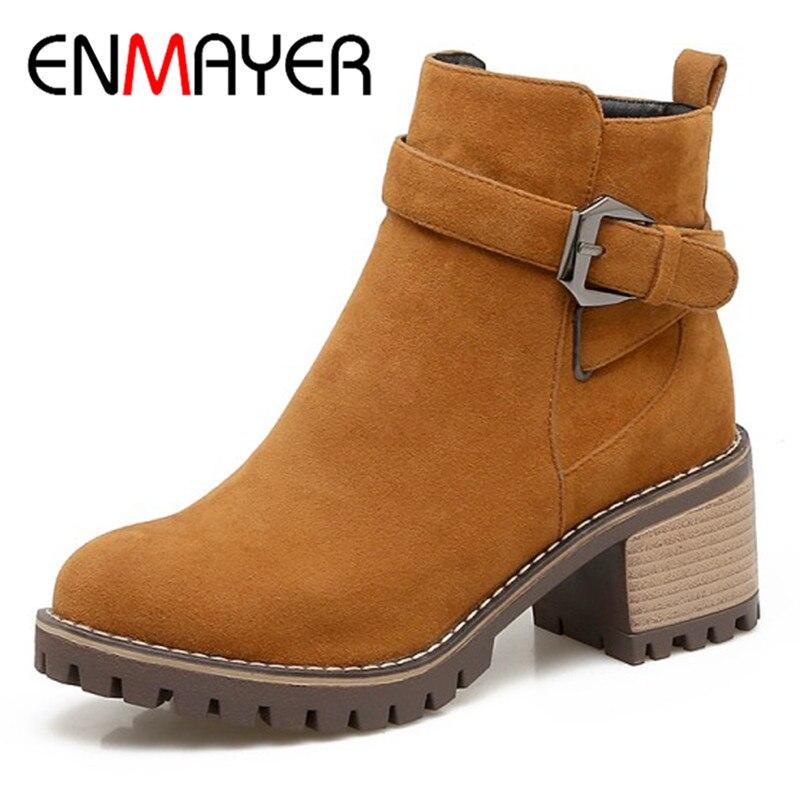 ENMAYER 2018 Newest Woman Boots High Heels Round Toe Zipper Flock Boots Women Casual Shoes Woman Platform Ankle Boots CL002