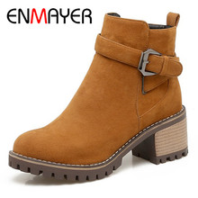 ENMAYER 2018 Newest Woman Boots High Heels Round Toe Zipper Flock Boots Women Casual Shoes Woman Platform Ankle Boots  CL002