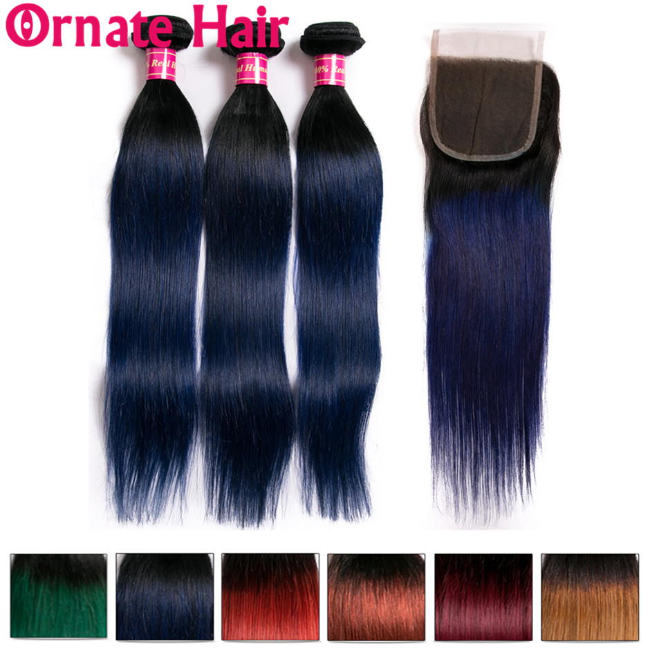 Ombre Colored Straight Human Hair Bundle With Closure Brazilian Hair Weave Bundles With Closure Dyed Bundles