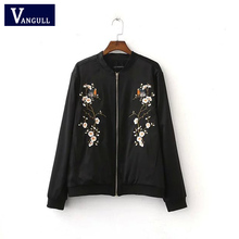 2016 Harajuku Bird Plum Flower Embroidery Jacket New Women Contrast color Floral Bomber Jacket Coat Pilots Outerwear Black