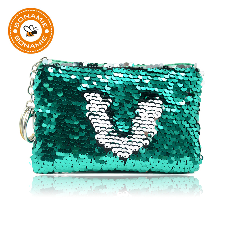 BONAMIE Sequins Women Coin Purse Pocket Change Wallet For Girls Portable Cute Child Zipper Purse Bags Organizer Earphone Pouch
