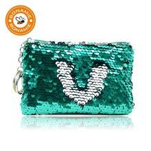 BONAMIE пайетки Для женщин портмоне кармане кошелек для девочек Портативный милый ребенок молния кошелек сумки Организатор наушники чехол