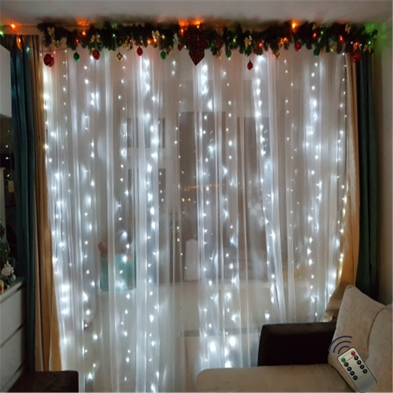 New Year 3x2M Garland 180LED Curtain Icicle String Light Outdoor Remote 8 Modes Fairy For Christmas Holiday Wedding Home Party