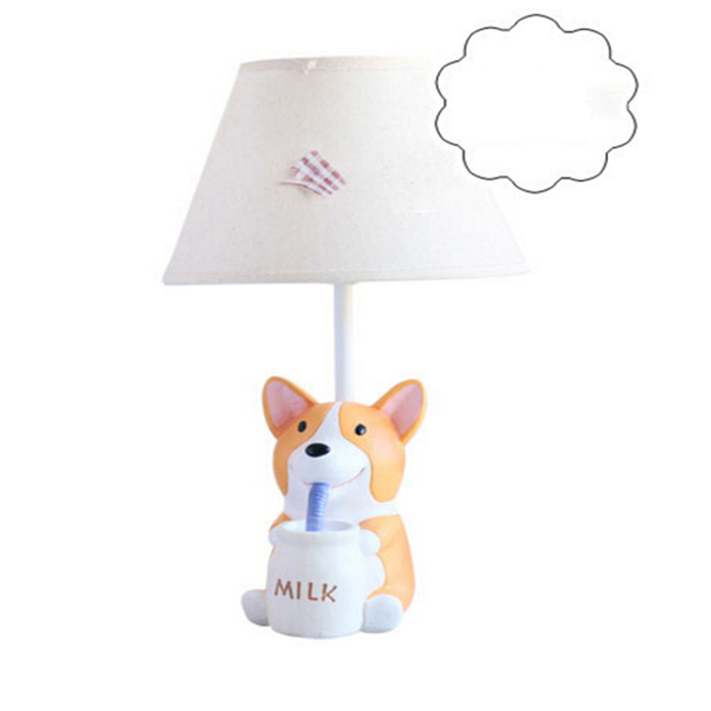Creative Puppy Child Table Lamp E14 AC 110V-220V Children Room High Quality Kids Desk Lamp Switch Button Table Led Lamp