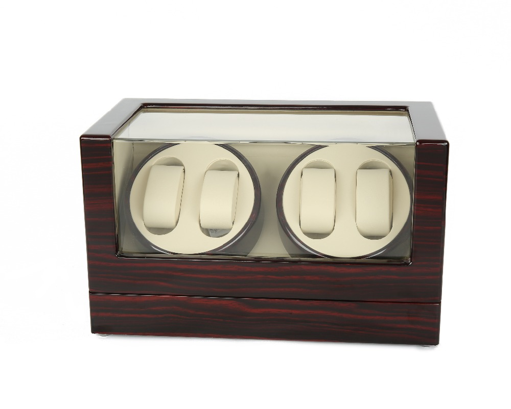 Watch Winder ,LTCJ Wooden Automatic Rotation 4+0 Watch Winder Storage Case Display Box (BW)without the lock watch winder lt wooden automatic rotation 2 0 watch winder storage case display box outside is rose red and inside is white
