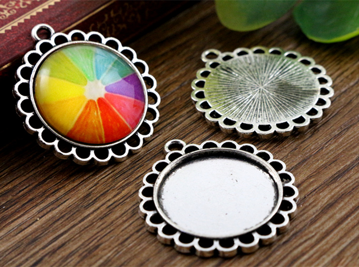 10pcs 20mm Inner Size Antique Silver Classic Style Cabochon Base Setting Charms Pendant (D1-35)