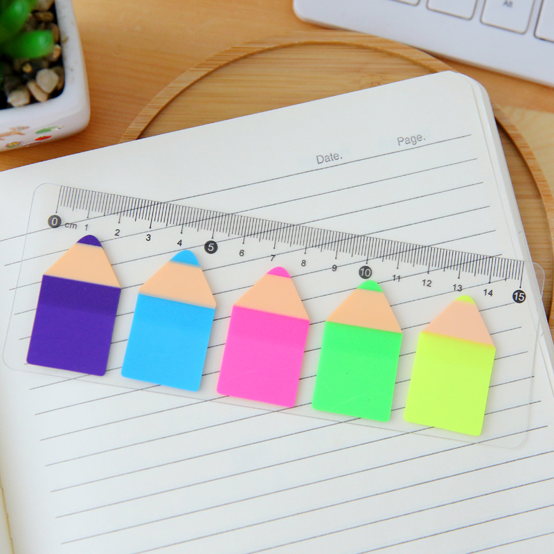 Novelty Pencil Shape Fluorescent Self-Adhesive Memo Pad Sticky Notes Bookmark With Ruler School Office Supply