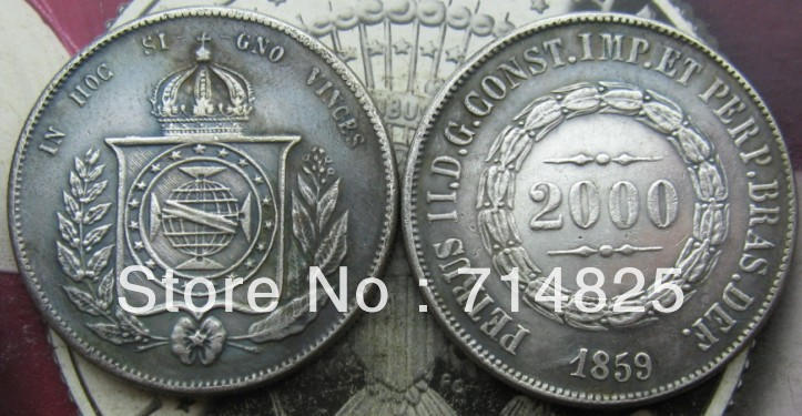 1859 БРАЗИЛИЯ 2000 Reis КОПИЯ