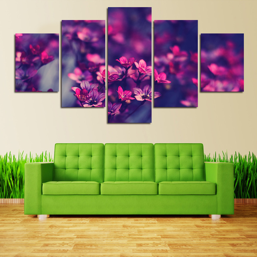 5 panel modern printed purple flowers painting wall art for Living room 12x18