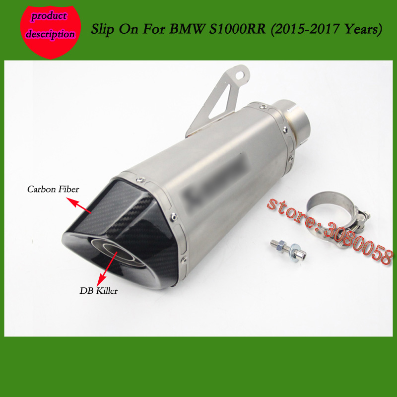 Slip On For S1000RR Laser Marking Motorcycle Exhaust Pipe Escape Carbon Muffler With DB Killer For Dedicated BMW S1000RR 2015-17