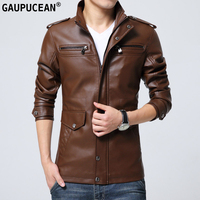 Men PU Leather Jacket Clothing Business Casual Male Coat New Fashion Spring Autumn Winter Blue Coffee