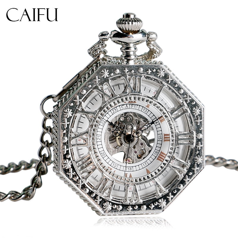 CAIFU Vintage Mechanical Pocket Watches with Fob Chain Retro Exquisite Hand Winding Watch Women Men Hollow Luxury Pendant Gift