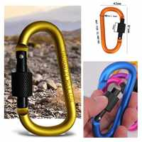 10pieces 8cm Aluminum Carabiner D-Ring Key Chain Clip outdoor climbing backpack carbine Camping Keychain Snap Hook Outdoor Kit