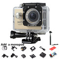 720P HD SJ 4000 Mini Camera +Monopod 30M Waterproof Go Pro Style Sport DV Bike Helmet Cam Mini Camcorders Photo Video Camera