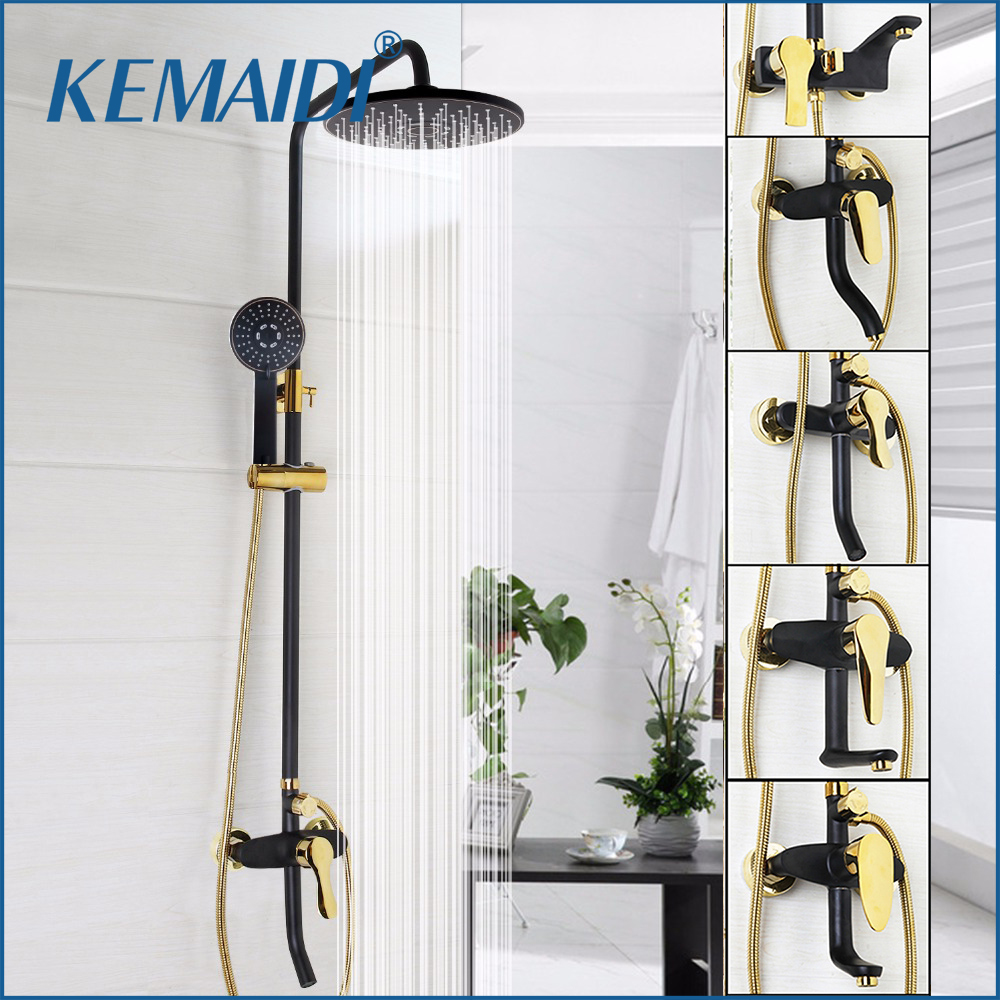 KEMAIDI Good Quality Bathroom Black Shower Set With Handheld Shower Wall Mounted Rainfall Shower Mixer Tap Faucet Mixer Valve 53203 bathroom rainfall wall mounted with handheld shower head faucet set mixer
