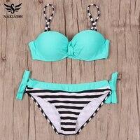 2016 Bikini Push Up Brazilian Hot Bandeau Top Neon String Bathing Suits Swimsuit Biquini Women