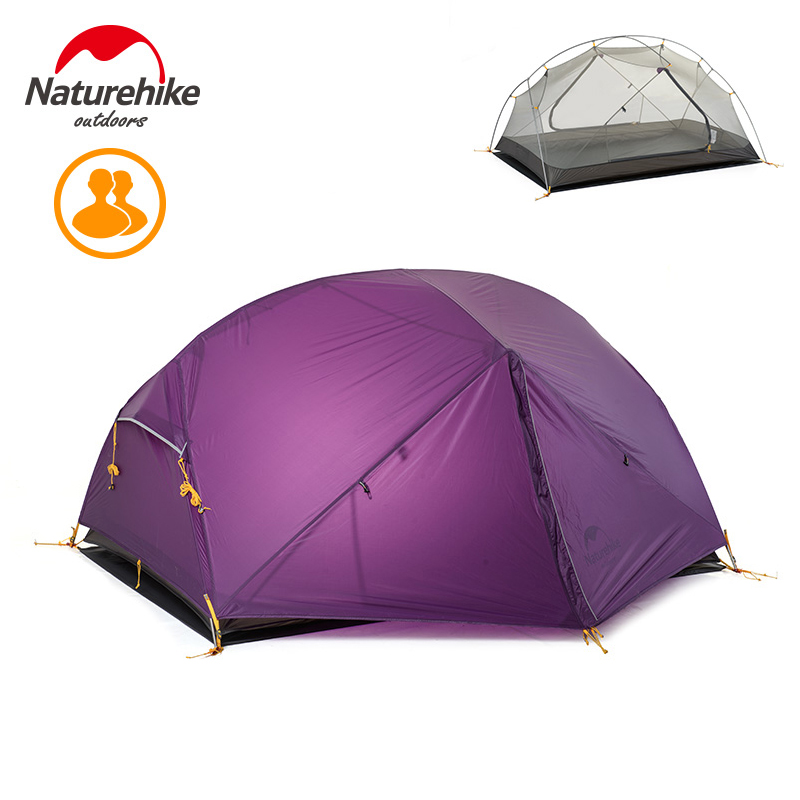 Naturehike Mongar 3 Season Camping Tent 20D Nylon Fabic Double Layer Waterproof Tent for 2 Persons NH17T007-M high quality outdoor 2 person camping tent double layer aluminum rod ultralight tent with snow skirt oneroad windsnow 2 plus