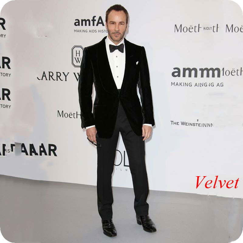 Latest Coat Pant Designs Black Velvet Men Suits For Wedding Suit Groom Tuxedo 2Piece Smoking Jacket Man Blazers Peaked Lapel