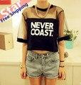 Новый женский короткий рукав рубашки сетки топ девочки-подростки мода верхний наружный одежды летом тенденция Бесплатная Доставка