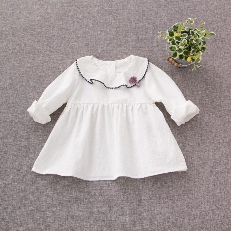2017 Cotton Infant White Long Sleeve O Neck Flower Kids Party Baby Dress Girls Princess Birthday